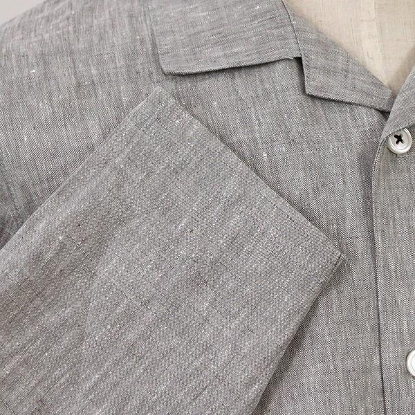 パジャマ メンズ 伝統の近江麻 リネン100%パジャマ 夏 長袖 テーラーカラー 前開き サラリとした肌ざわり上質リネン素材 日本製 送料無料 父の日 0511|pajamakobo-lovely|09