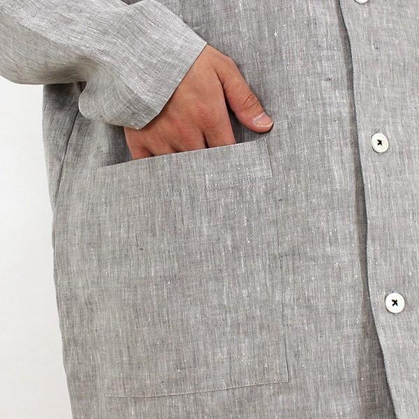 パジャマ メンズ 伝統の近江麻 リネン100%パジャマ 夏 長袖 テーラーカラー 前開き サラリとした肌ざわり上質リネン素材 日本製 送料無料 父の日 0511|pajamakobo-lovely|10