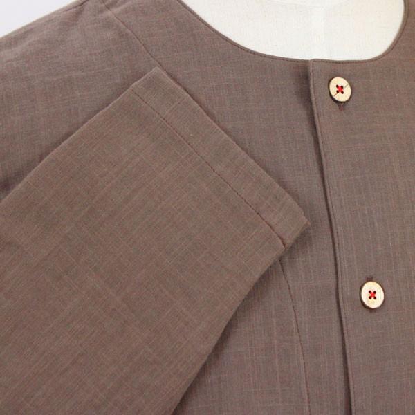 パジャマ メンズ 夏 綿 ダブルガーゼ素材 長袖 前開きタイプ ふんわりやさしい肌触り 入院や介護パジャマとしても人気 日本製 父の日 ギフト 0517|pajamakobo-lovely|11