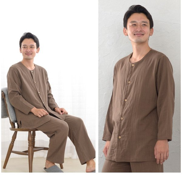 パジャマ メンズ 夏 綿 ダブルガーゼ素材 長袖 前開きタイプ ふんわりやさしい肌触り 入院や介護パジャマとしても人気 日本製 父の日 ギフト 0517|pajamakobo-lovely|04