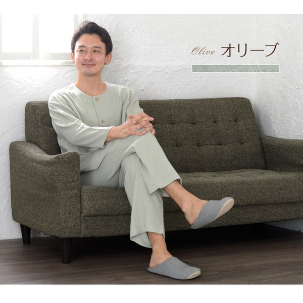 パジャマ メンズ 夏 綿 ダブルガーゼ素材 長袖 前開きタイプ ふんわりやさしい肌触り 入院や介護パジャマとしても人気 日本製 父の日 ギフト 0517|pajamakobo-lovely|05