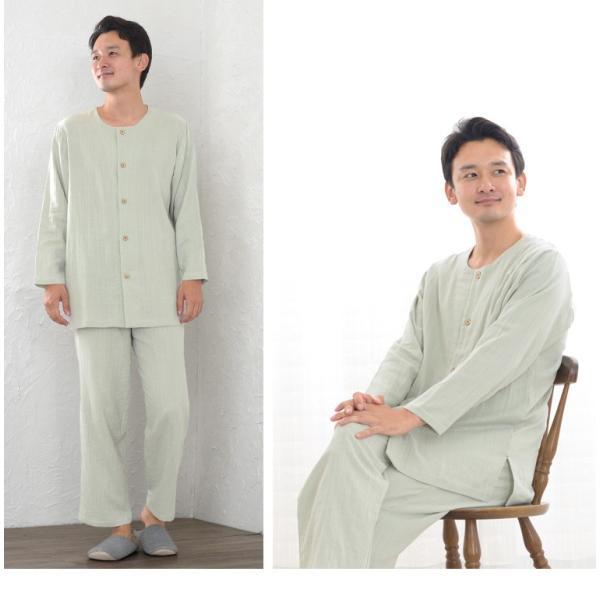 パジャマ メンズ 夏 綿 ダブルガーゼ素材 長袖 前開きタイプ ふんわりやさしい肌触り 入院や介護パジャマとしても人気 日本製 父の日 ギフト 0517|pajamakobo-lovely|06