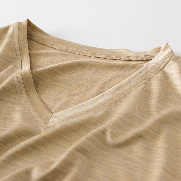 メンズ パジャマ 長袖 かぶり Vネック シルク100%薄地天竺ニット 0525|pajamakobo-lovely|09