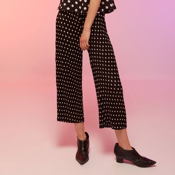 ワイドパンツ レディース 黒 ブラック ドット 7分丈 ストレート 春 春夏|pajamas