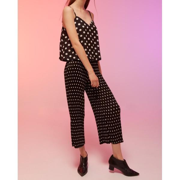 ワイドパンツ レディース 黒 ブラック ドット 7分丈 ストレート 春 春夏|pajamas|02