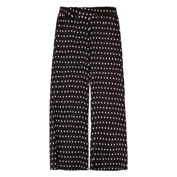 ワイドパンツ レディース 黒 ブラック ドット 7分丈 ストレート 春 春夏|pajamas|04