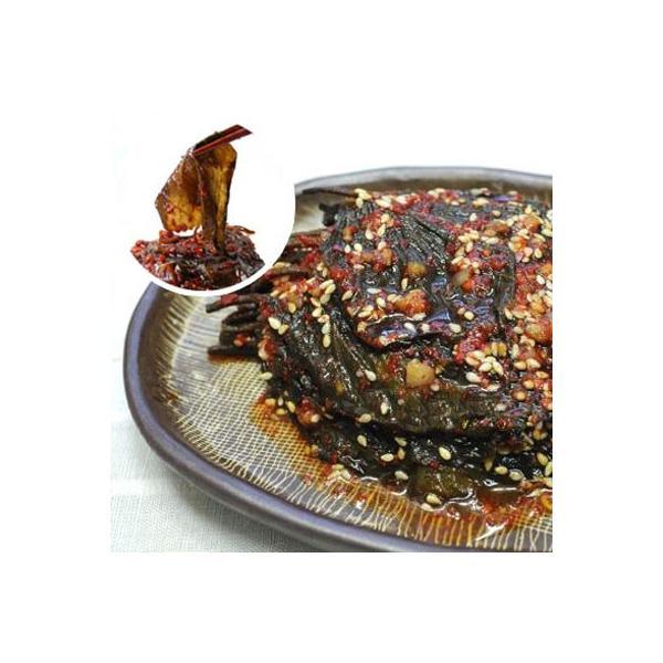 [冷蔵]『自家製』エゴマの葉キムチ・タレ漬け(辛口・500g) 漬物 惣菜 韓国おかず 韓国キムチ 韓国料理 韓国食材 韓国食品