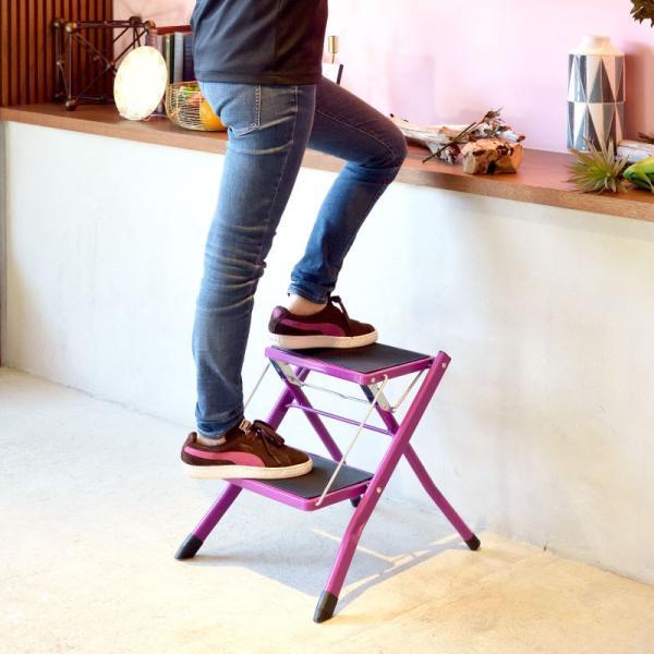 脚立 踏み台 折りたたみ おしゃれ ステップ台 2段 折りたたみ踏み台 ステップスツール 耐荷重100kg|palette-life|17
