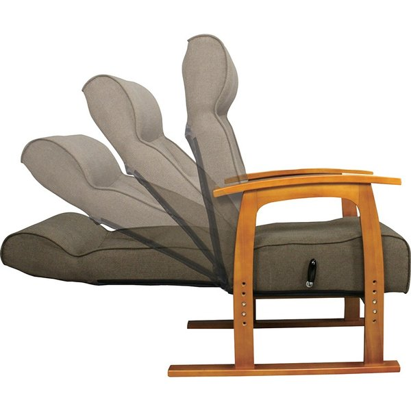 座椅子 高座椅子 フロアチェア 1人掛け リクライニング レバー式 高さ調節|palette-life|02