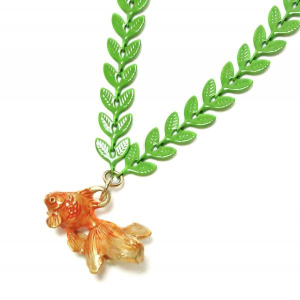 金魚 レディース ネックレス ロング PalnartPoc ブランド パルナートポック直営 プレゼント 水底のお嬢さんネックレス|palnartpocstore