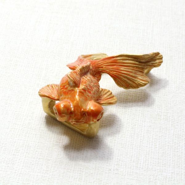 おしゃれな帯留め 出目金 魚 赤 PalnartPoc直営 アクセサリー 可愛い ブランドパルナートポック直営店  出目金GD(ゴールド)帯留め|palnartpocstore|07