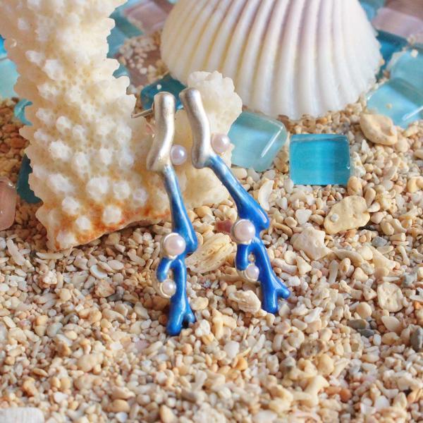 珊瑚 サンゴ 海 可愛い ピアス レディース サージカルステンレス PalnartPoc ブランド パルナートポック直営 プレゼント サンゴの欠片(ブルー)|palnartpocstore