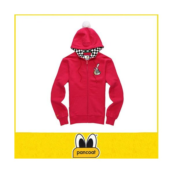POPRABBIT 4D HOODY ZIPUP A-5 HI FLAMINGO PURPLE パーカー パンコート キャラクター LONG T 長袖 ポンポン付きパーカ パンコート|pancoat