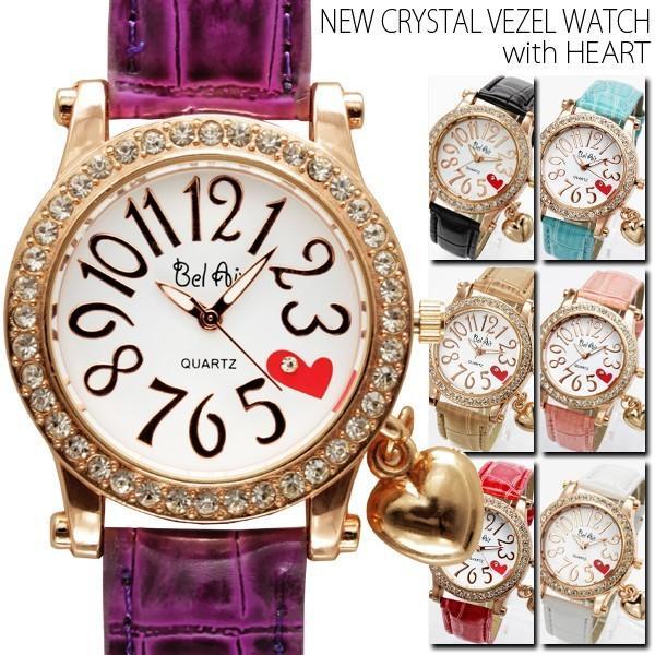 チャーム付き ベゼル 腕時計 レディース ハート ブラック ピンク レッド ミント