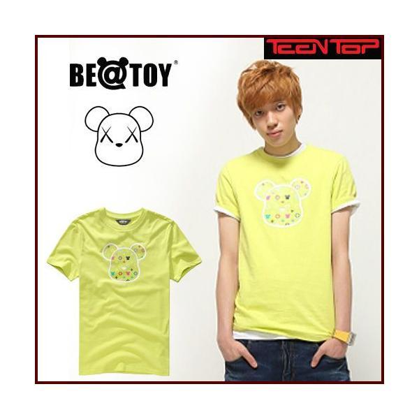 正規品 TEENTOP NIEL ニエル着用 Monogram head_O Green BEATOY T-シャツ、半袖、メンズ、レディース、熊 くま キャラクターT-シャ pancoat