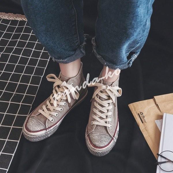 スニーカー レディース おしゃれ 歩きやすい 靴 シューズ レースアップ 軽量 無地 ぺたんこ 通学 キャンバス