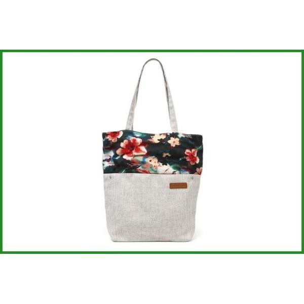 送料無料 花柄の切替がかわいい A4対応キャンバストートバッグ オリエンタル柄 ローズレッド T-00102866 |b04