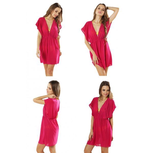 5085a44deee ... ビーチドレス 水着カバー ビキニカバー レディース 全16色 Vネック UVカット ビーチウェア