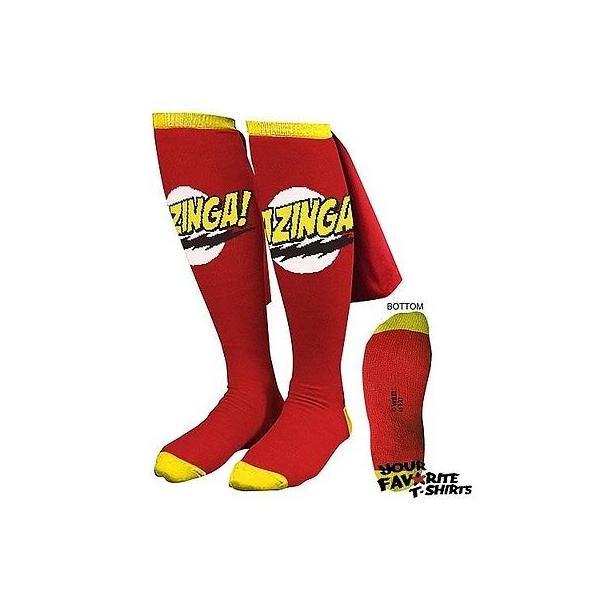 ビデオゲーム キャラクター グッズ ビッグバンセオリーBig Bang Theory レッド Bazinga Caped 靴下 Sheldon Cooper ライセンス 靴下|pandastore