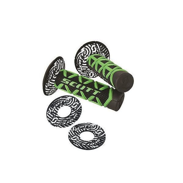 """Scott Grips Diamond 7//8/"""" Motorcycle Twist Throttle Grips w Donut Grn Blk 51-1274"""