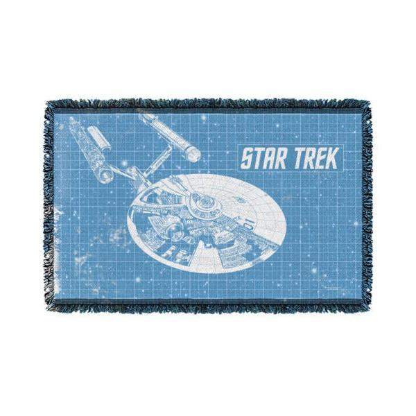 """スタートレック アフガン スロー ブランケット ソファー Star Trek クラシック Enterprise ブループリント ライセンス ブランケット 36"""" X 60"""""""
