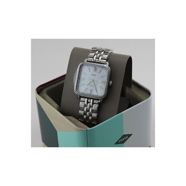 腕時計 フォッシル NEW AUTHENTIC FOSSIL MICAH SILVER CRYSTALS SQUARE MOP DIAL WOMEN'S ES4268 WATCH