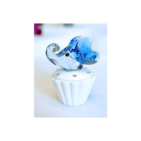 オーナメント スワロフスキ Cupcake Box エレファント ブルー Cute ベビー Gift 1194041