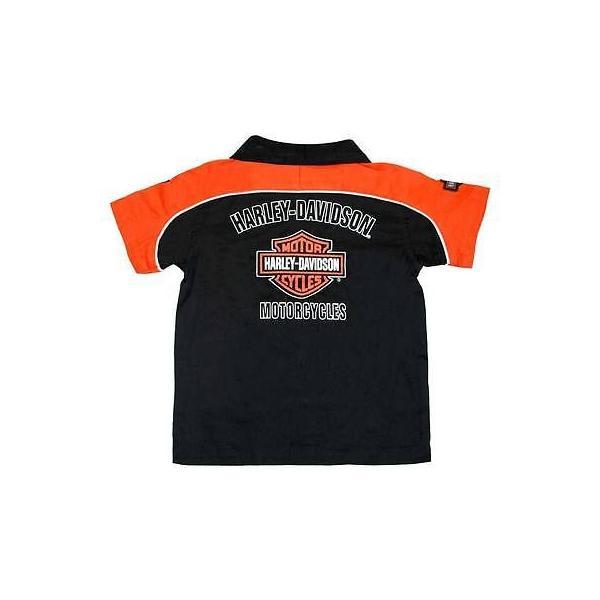 Details about  /Kids Harley Davidson Boys Motorcycle Print Orange Long Sleeve Shirt