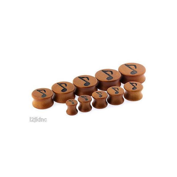 ボディピアスジュエリー アメリカン ジュエリー ヒップホップ Music Note Shape Double Flare Organic Sawo Wood Ear Plugs Gauges sizes 0G - 26mm