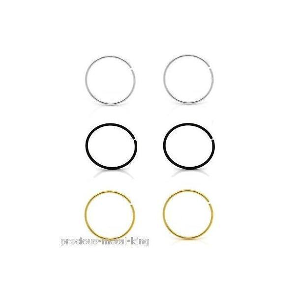 """ボディピアスジュエリー アメリカン ジュエリー ヒップホップ 6 pcs of Gold Black Silver 925 Sterling Silver 22G Seamless Nose Hoop 10mm- 3/8"""""""
