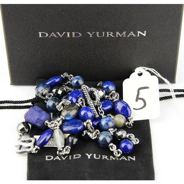 ネックレス ペンダント ジェムストーン デヴィッドヤーマン DAVID YURMAN ST.SILVER ULTRAMARINE LAPIS HEMATITE DIAMONDS 34 NECKLACE NEW # 5