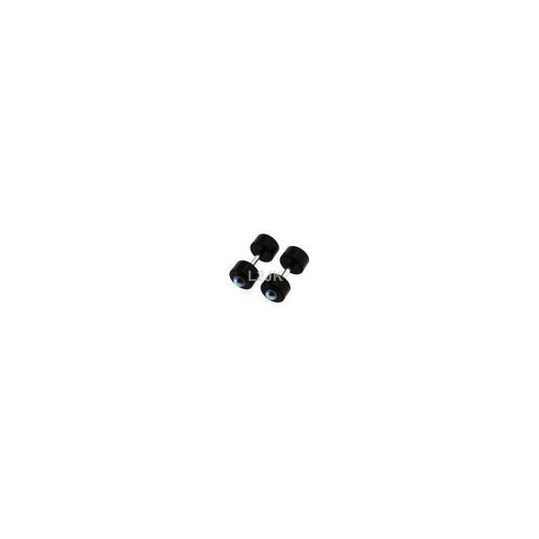 ボディピアスジュエリー アメリカン ジュエリー ヒップホップ Fake Cheater Illusion Plugs 2G 6mm Black/Indicolite Color Pearl Fake Plug