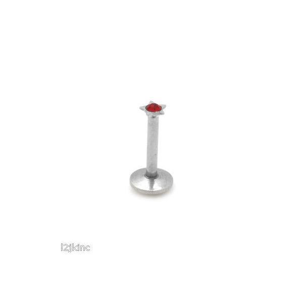 ボディピアスジュエリー アメリカン ジュエリー ヒップホップ 16G Silver Red Star Lip Labret Stud Ring Internally Threaded Monroe Piercing