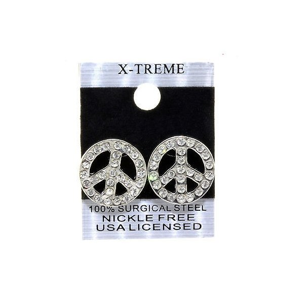 イヤリング スタッド アメリカン ジュエリー ヒップホップ Silver Plated Clear Iced Out Hip Hop Big Peace Sign Shape CZ Stud Bling Earrings