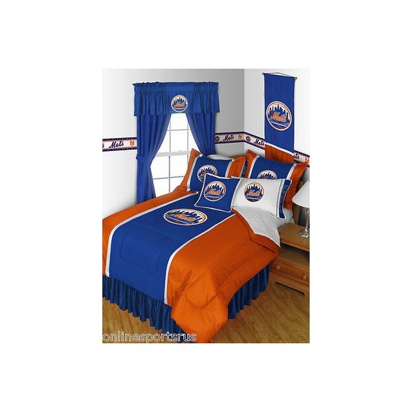 掛け布団 セット New York Mets Comforter Sham Bedskirt Pillowcase Valance Twin Full Queen King