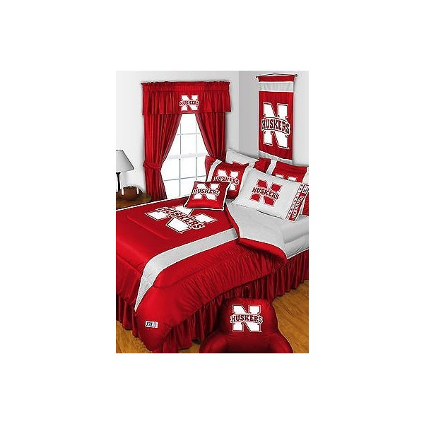 掛け布団 セット Nebraska Huskers Comforter Sham Bedskirt Curtains Valance Twin to King Size