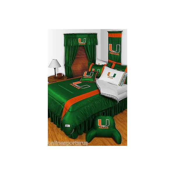 掛け布団 セット Miami Hurricanes Comforter Sham Bedskirt & Valance Twin Full Queen King Size