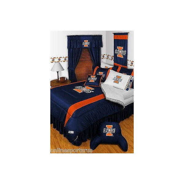 掛け布団 セット Illinois Illini Comforter Bedskirt Sham Curtains & Valance Twin to King Size
