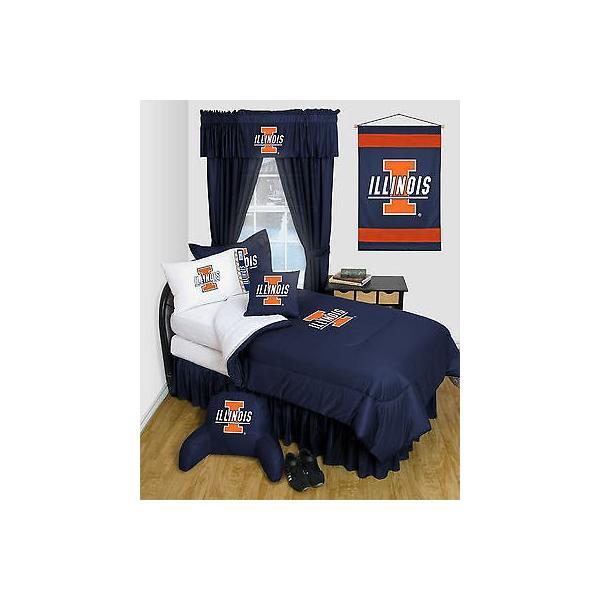 掛け布団 セット Illinois Illini Comforter & Pillowcase Set Twin Full Queen Size LR