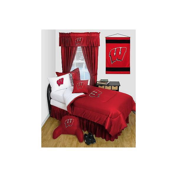 掛け布団 セット Wisconsin Badgers Comforter & Pillowcase Twin Full Queen Size LR