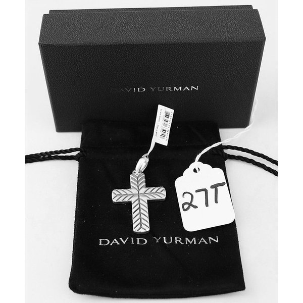ネックレス ペンダント デヴィッドヤーマン DAVID YURMAN AMAZING SILVER 50 mm MODERN CHEVRON CROSS NO CHAIN 27T NEW BOX
