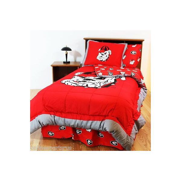 掛け布団 セット Georgia Bulldogs Comforter Sham Bedskirt Pillowcase Valance Twin to King SIze CC