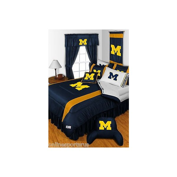 掛け布団 セット Michigan Wolverines Comforter Sham Bedskirt & Valance Twin to King Size