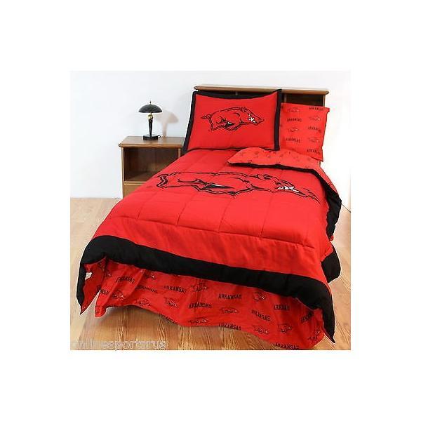 掛け布団 セット Arkansas Razorbacks Comforter Sham Sheet Set Twin Full Queen King Size CC