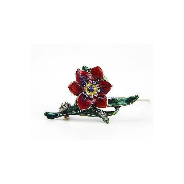 ピン ブローチ ジェイストロングウォーター  JAY STRONGWATER RED DOGWOOD FLOWER & LADYBUG BROOCH SWAROVSKI NEW BOX USA