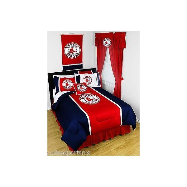 掛け布団 セット Boston Red Sox Comforter Bedskirt Sham & Valance Twin Full Queen King Size