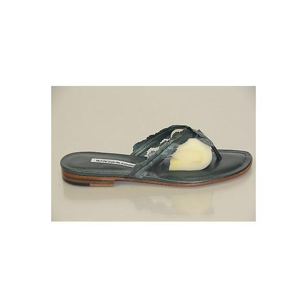ハイヒール マノロブラニク Manolo Blahnik Pearly Green leather Slides Flats Thong Sandals Shoes 38