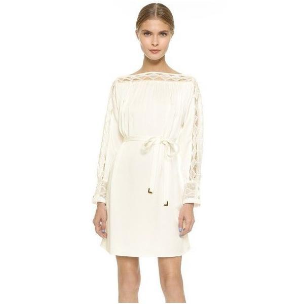 ワンピース マイエット Maiyet  Boat Neck Belted Mini Dress Ivory Lace  Off white 36 38 42|pandastore|01