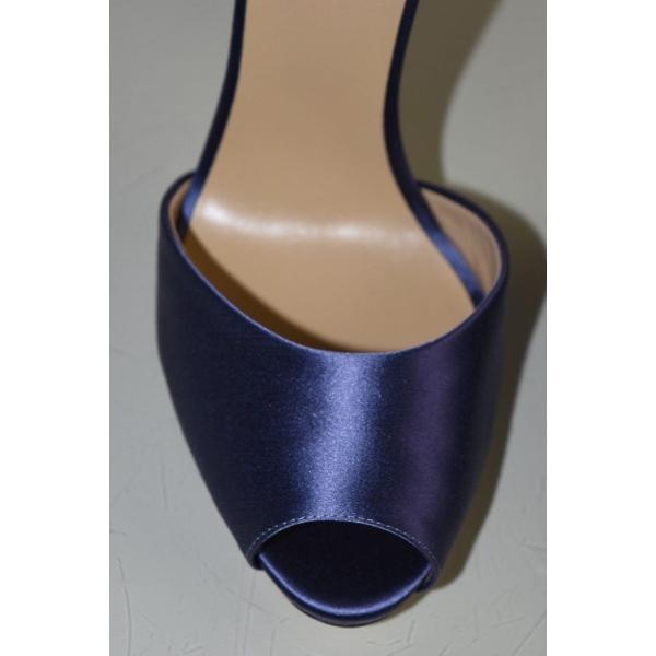 ハイヒール ラペルラ  LA Perla SCARPE Blue Satin High Heel Slingback Peep Toe Pumps Shoes 40