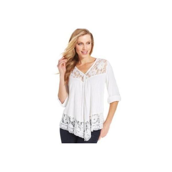 カレンケーン ブラウス シャツ トップス Karen Kane ホワイト Roll Tab Lace Button Blouse サイズ XS 108LAFO